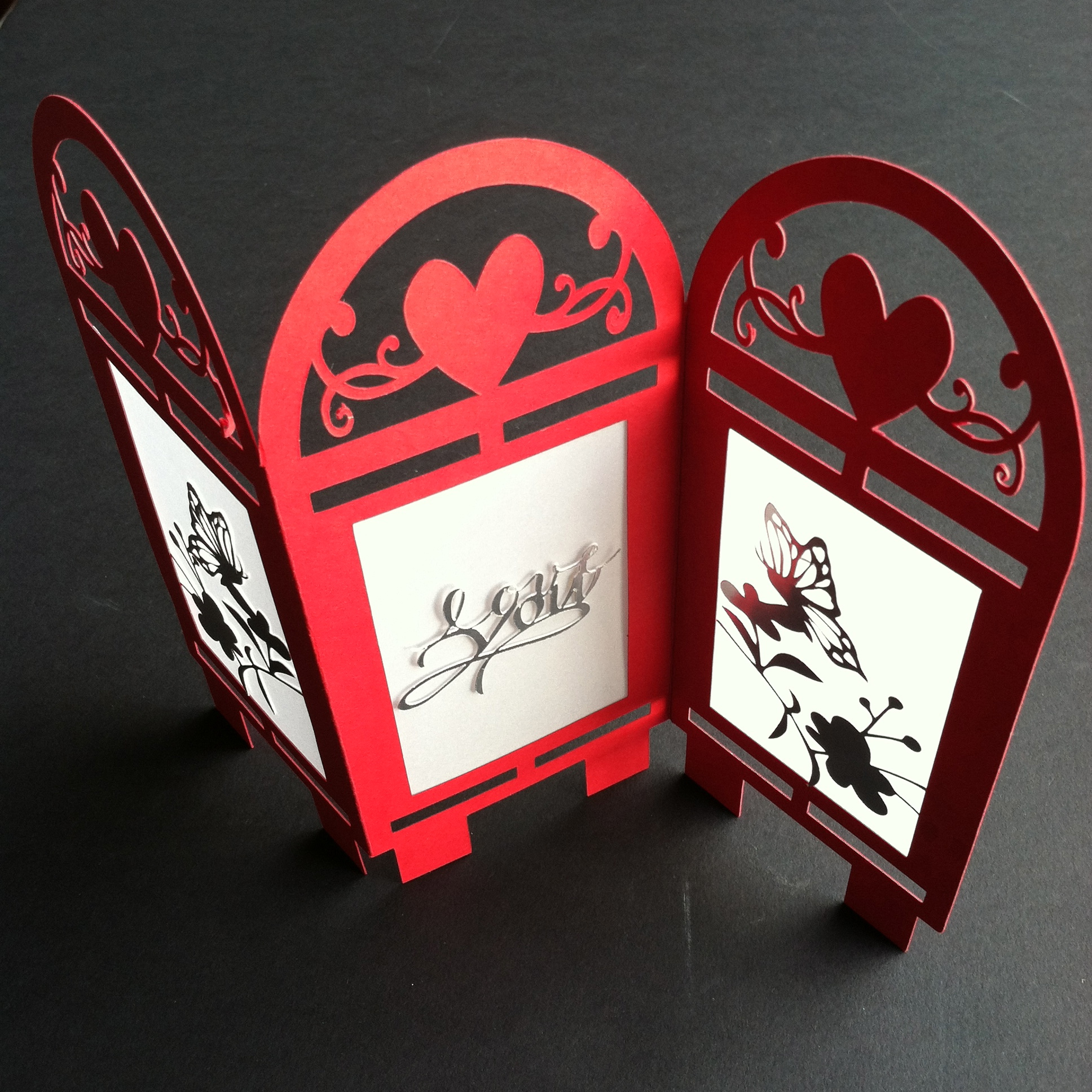 Silhouette Cameo Project #5 Valentine's Day Table Top Screen Card Stock, Vellum & Foil Paper from Stampin' Up!