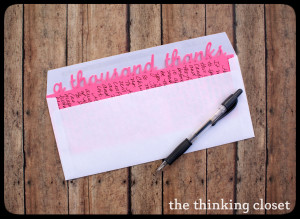The Thinking Closet, a thousand thanks card