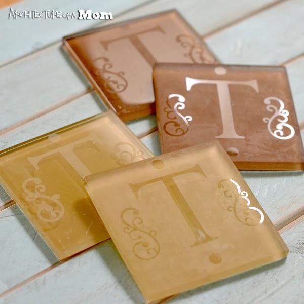 Etched Monogram Coasters, Architecture of a Mom