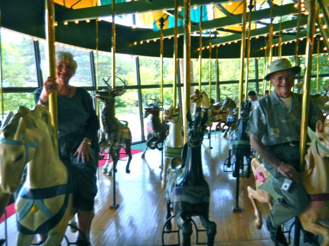 Mom & Dad on carousel at Faust Park