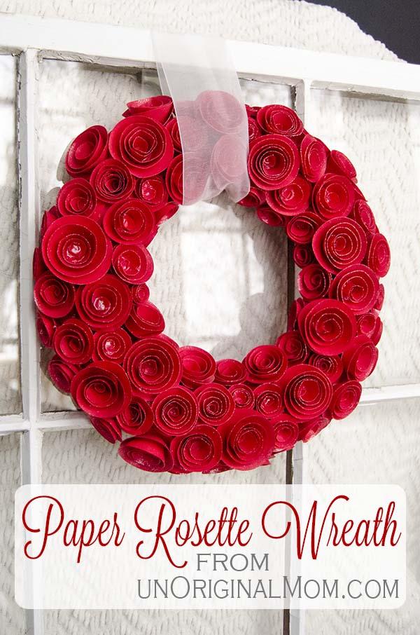 Paper Rosette Wreath from UnOriginal Mom