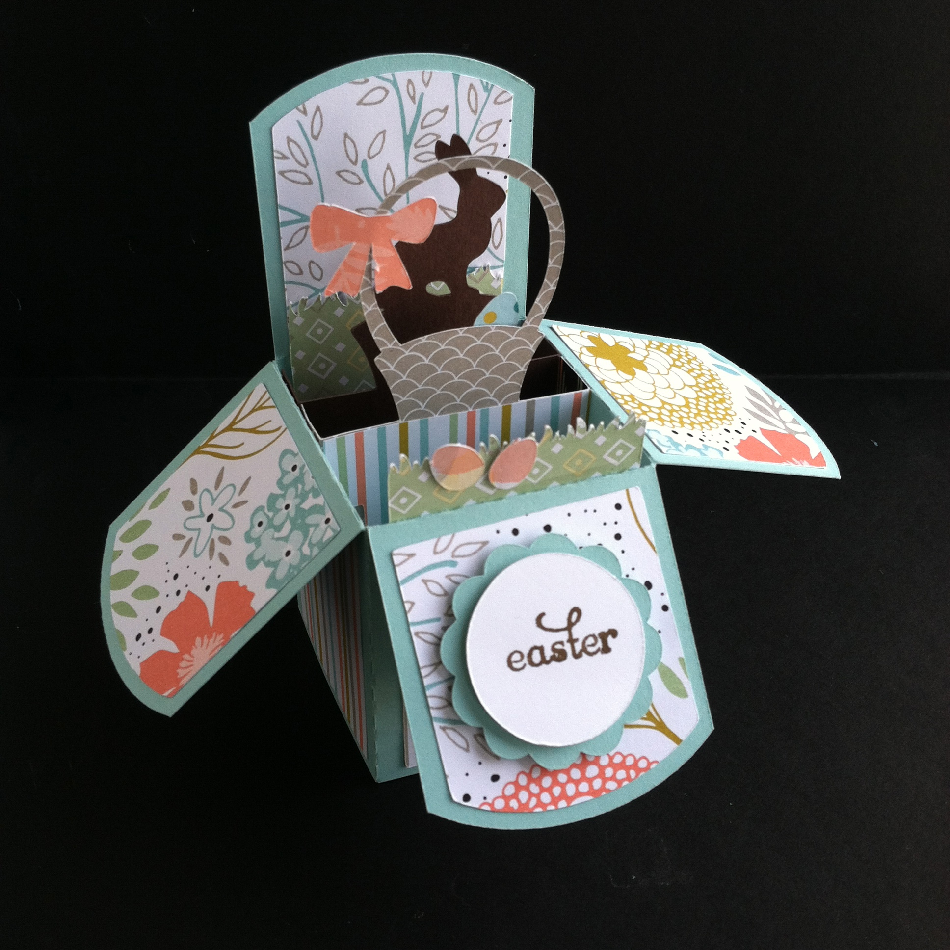Easter pop-up box card, Stampin' Up! Sweet Sorbet, Lori Whitlock, Silhouette