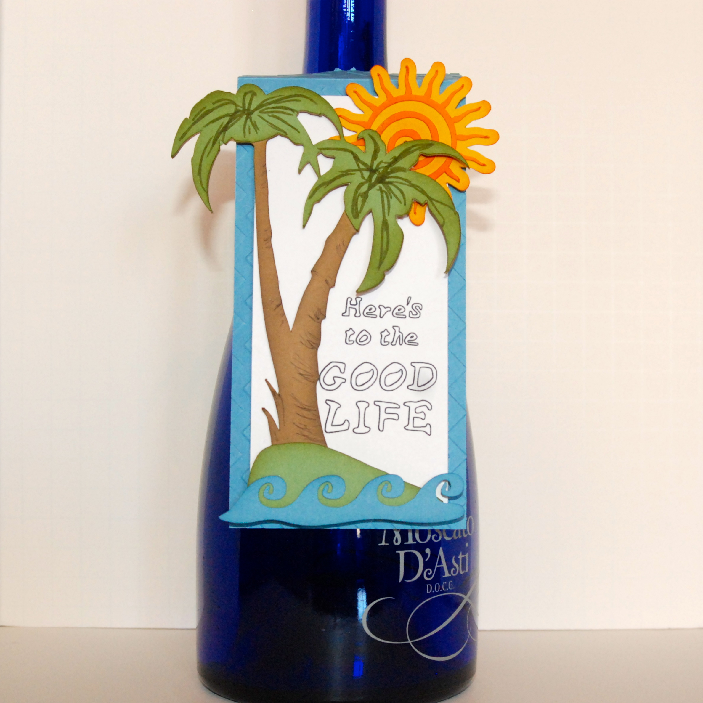 Here's to the Good Life, Wine Bottle Tag, Peace-Love-and-Joyce